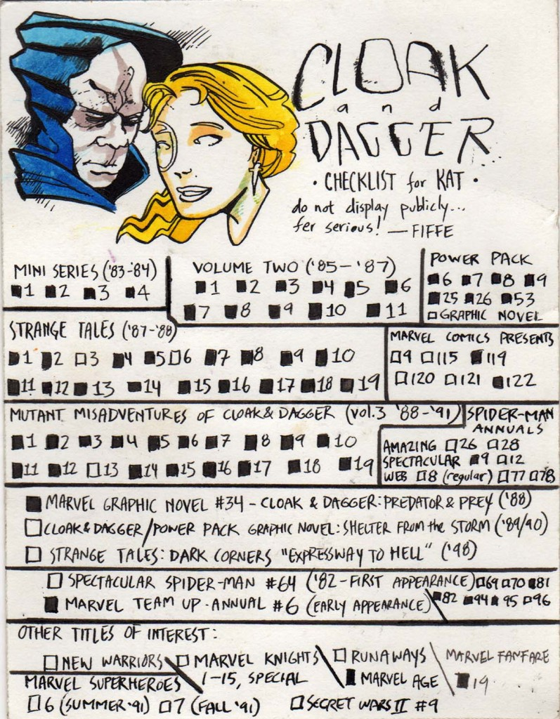 Cloak and Dagger Checklist